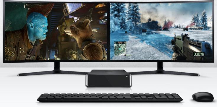 CHUWI CoreBox i5 Computer vor zwei Monitoren