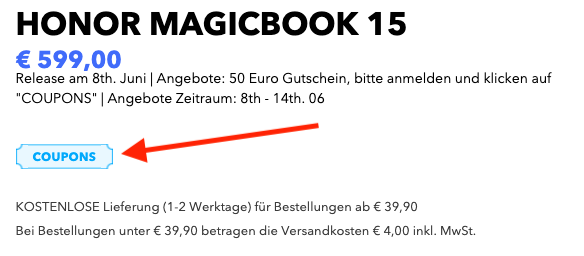 Honor MagicBook 15 Notebook Coupon aktivieren