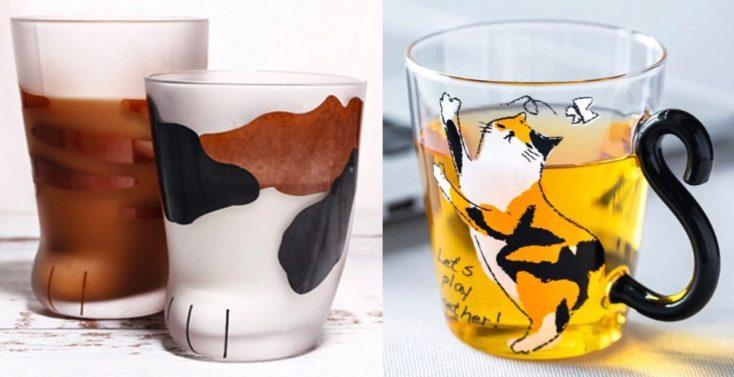 Katze Pfote und Glas