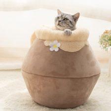 Katzen Versteck braun