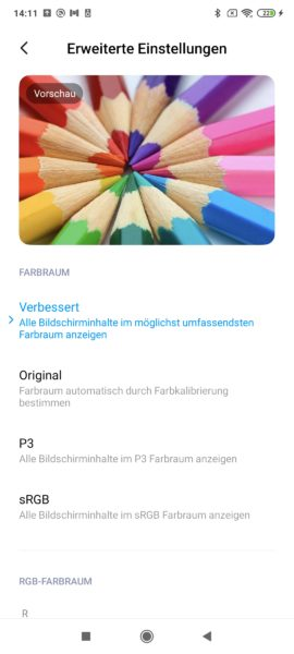 Poco F2 Pro Displayeinstellungen Farbraum