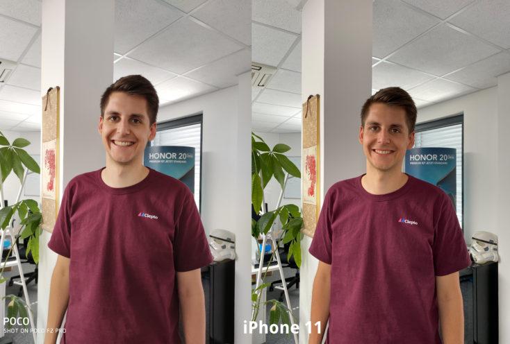 Poco F2 Pro Hauptkamera Testfoto Person vs iPhone 11