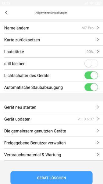 Proscenic M7 Pro Saugroboter App Einstellungen Absaugstation