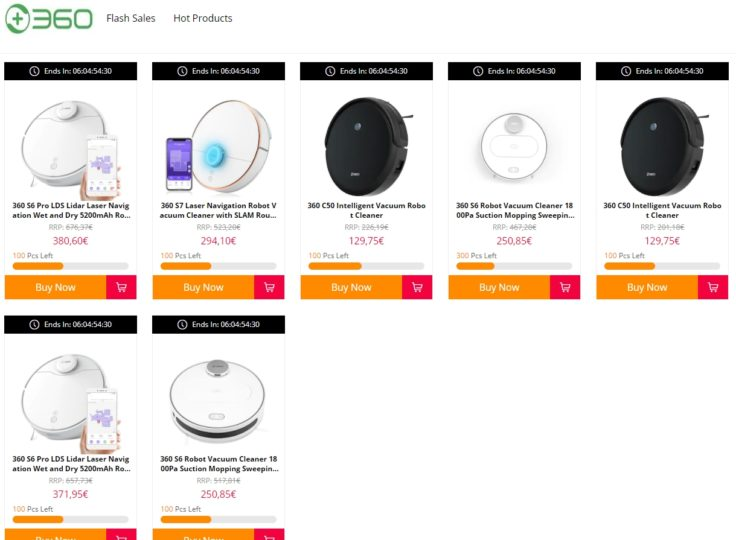 Qihoo 360 Saugroboter Flash Sale Übersicht GearBest