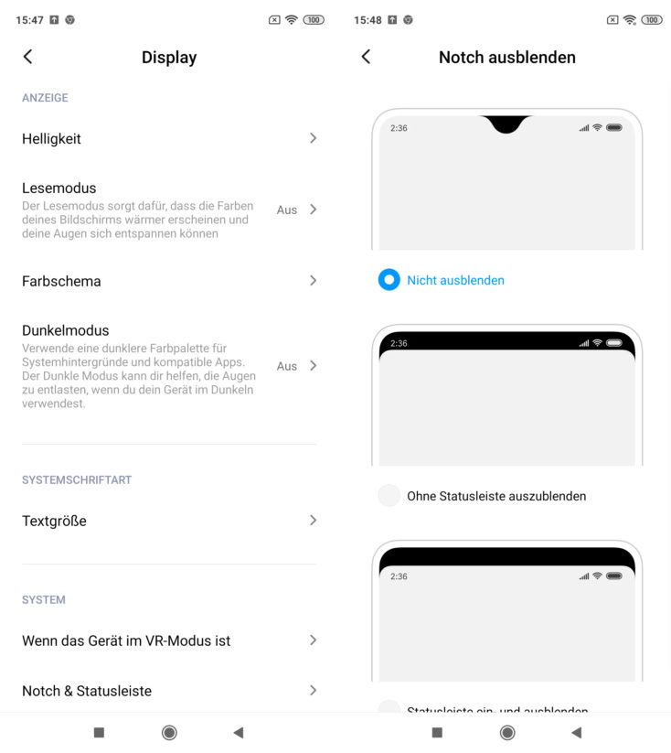 Redmi Note 9S Displayeinstellungen MIUI