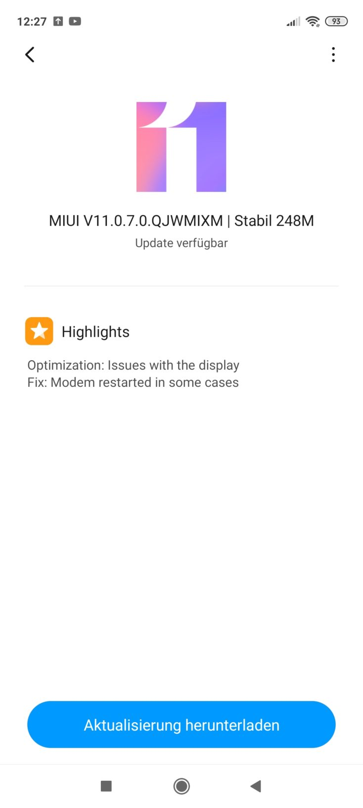Redmi Note 9S MIUI 11 Update