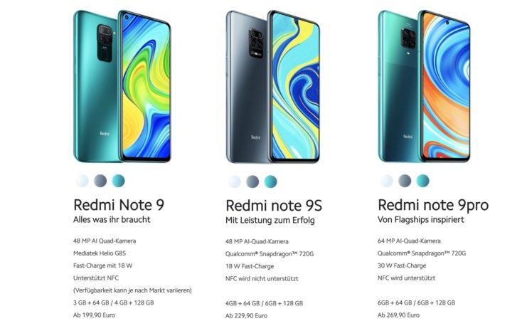 Redmi Note 9 Serie UEbersicht