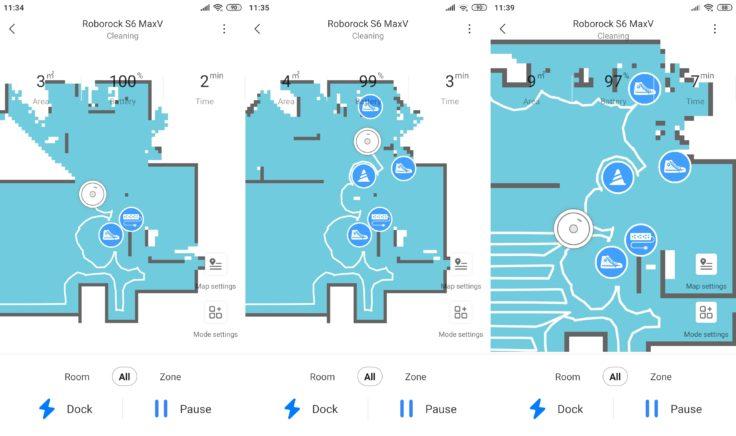 Roborock S6 MaxV Saugroboter Xiaomi Home App AI Erkennung Icons