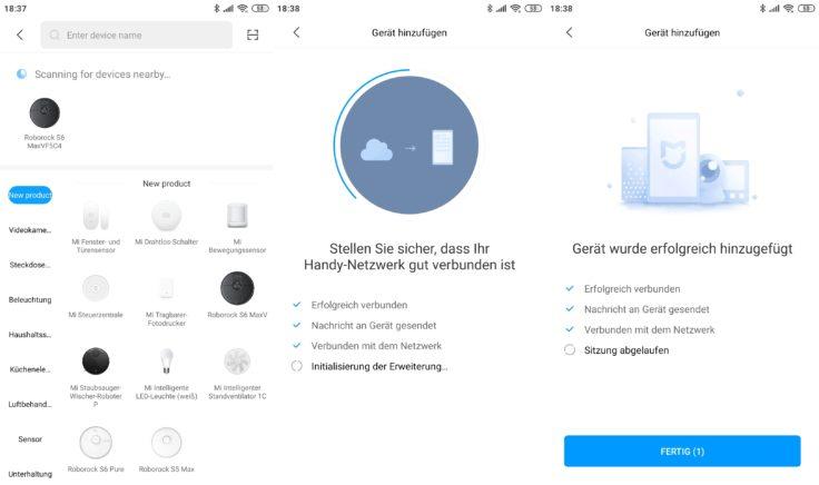 Roborock S6 MaxV Saugroboter Xiaomi Home App Einbindung WLAN