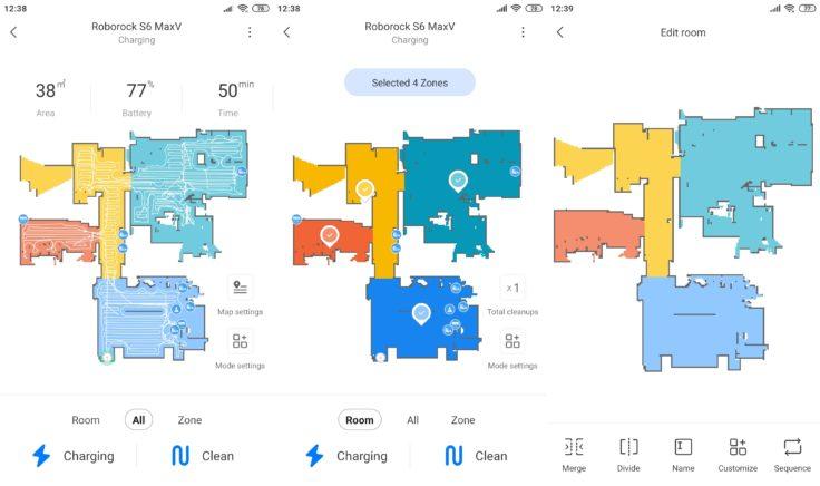 Roborock S6 MaxV Saugroboter Xiaomi Home App Raumeinteilung