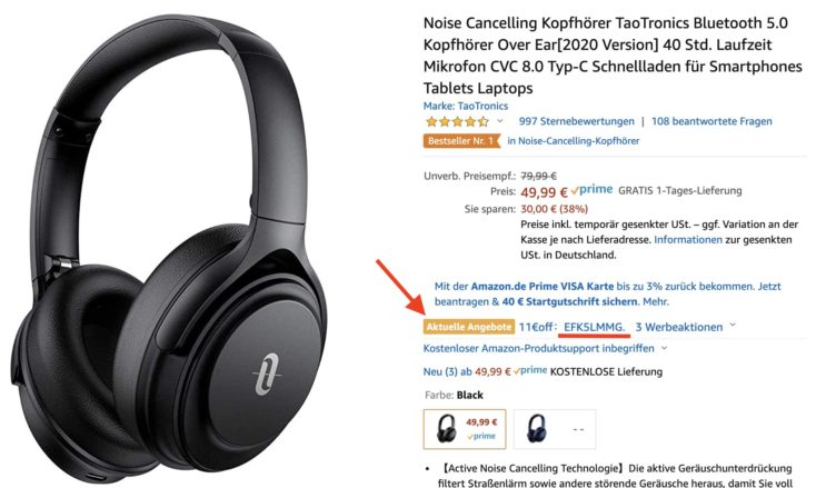 TaoTronics SoundSurge 85 Kopfhoerer Amazon