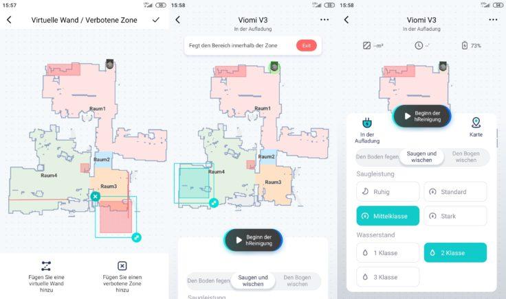 Viomi V3 Saugroboter Xiaomi Home App selektive Raumeinteilung