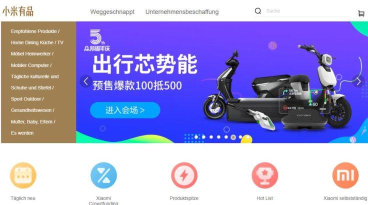 Xiaomiyoupin Mall Verkauf Xiaomi Plattform