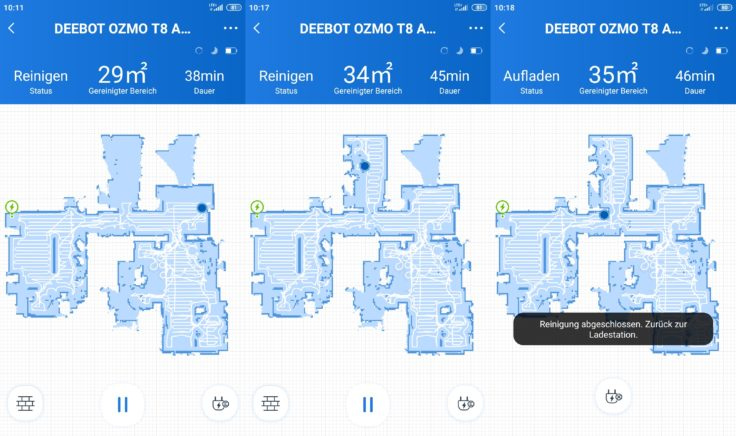 Ecovacs Deebot Ozmo T8 AIVI Saugroboter App Mapping Kartenerstellung