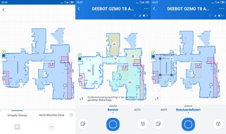 Ecovacs Deebot Ozmo T8 AIVI Saugroboter App No Go Zonen
