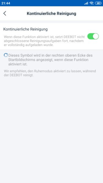 Ecovacs Deebot Ozmo T8 AIVI Saugroboter App fortgesetzte Reinigung