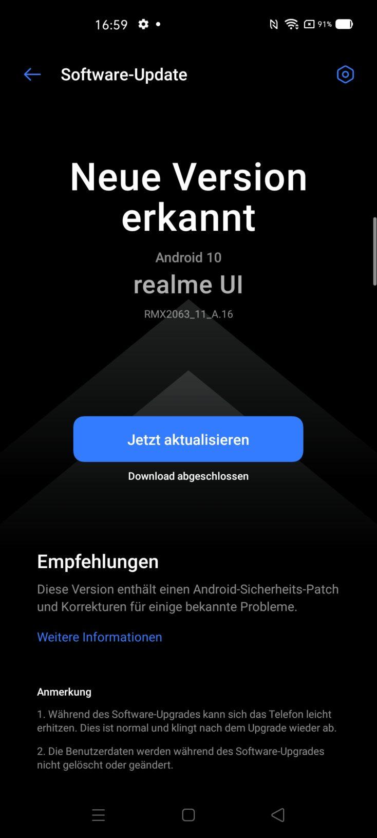 Realme UI Betriebssystem Update