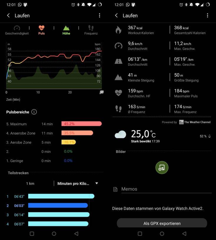 Samsung Galaxy Watch Active 2 Laufdaten GPX