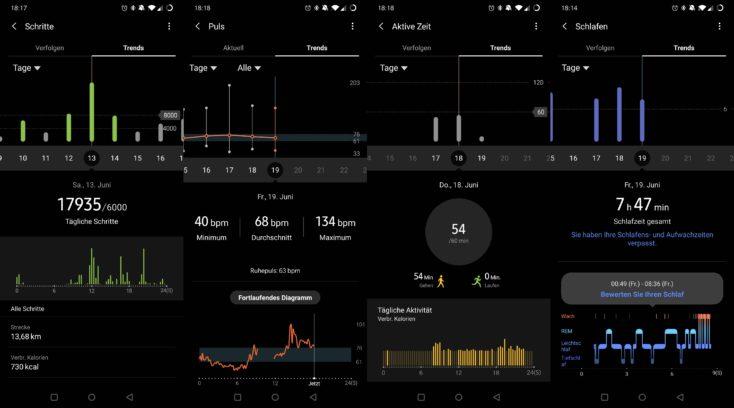 Samsung Galaxy Watch Active 2 Schritte Puls Kalorien Schlaf