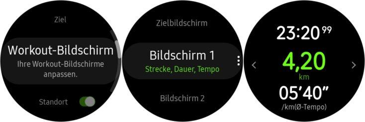 Samsung Galaxy Watch Active 2 Workout Bildschirme