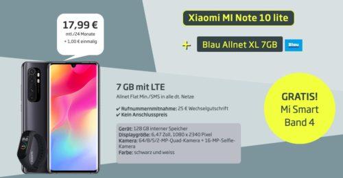 Xiaomi Mi Note 10 Lite mit 7GB LTE Handyvertrag