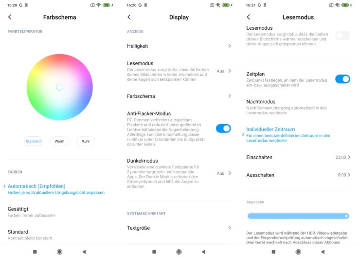 Xiaomi Mi Note 10 Lite Display Farben Anti Flacker Lesemodus