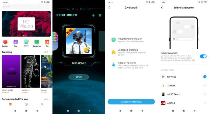 Xiaomi Mi Note 10 Lite Themes Game Turbo Zweitprofil Schnellantworten MIUI