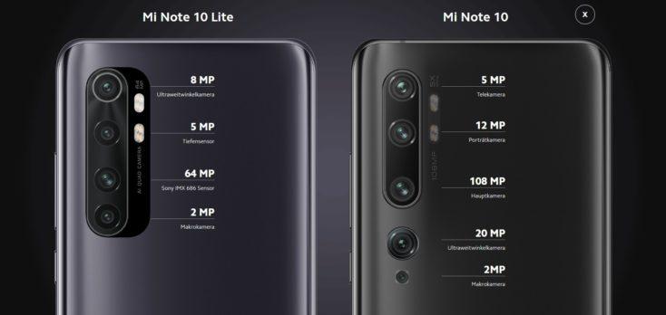 Xiaomi Mi Note 10 Lite vs Mi Note 10 Kamera