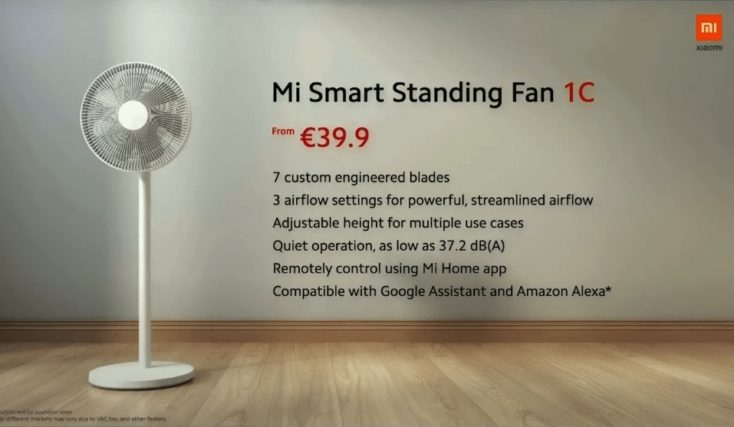 Xiaomi Mi Smart Standing Fan 1C Ventilator Specs