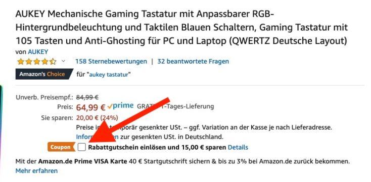 AUKEY Mechanische Gaming Tastatur Gutschein Hinweis