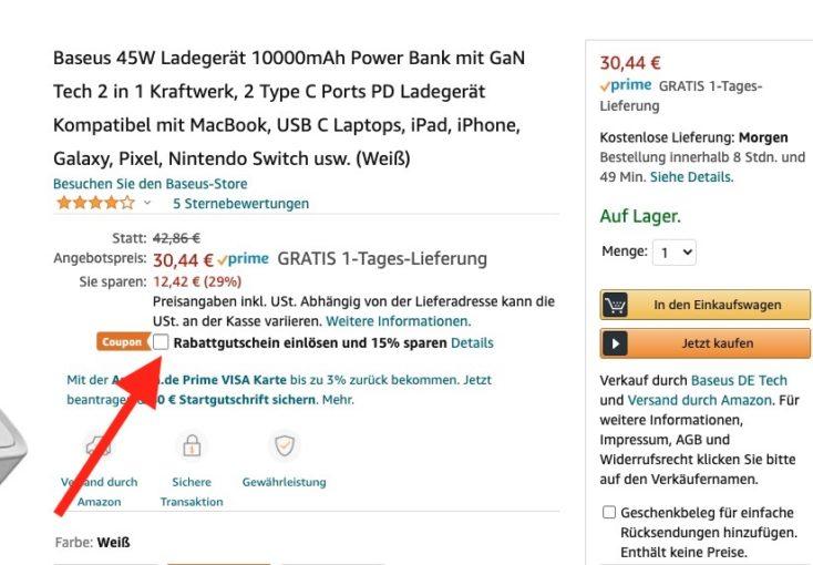 Baseus 45W 2 in 1 Amazon Gutschein