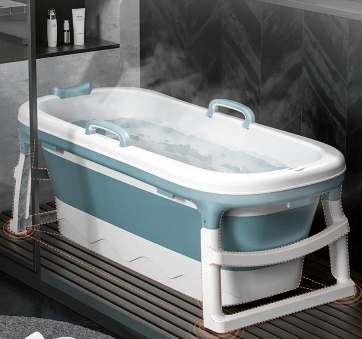 Faltbare Badewanne in der Dusche