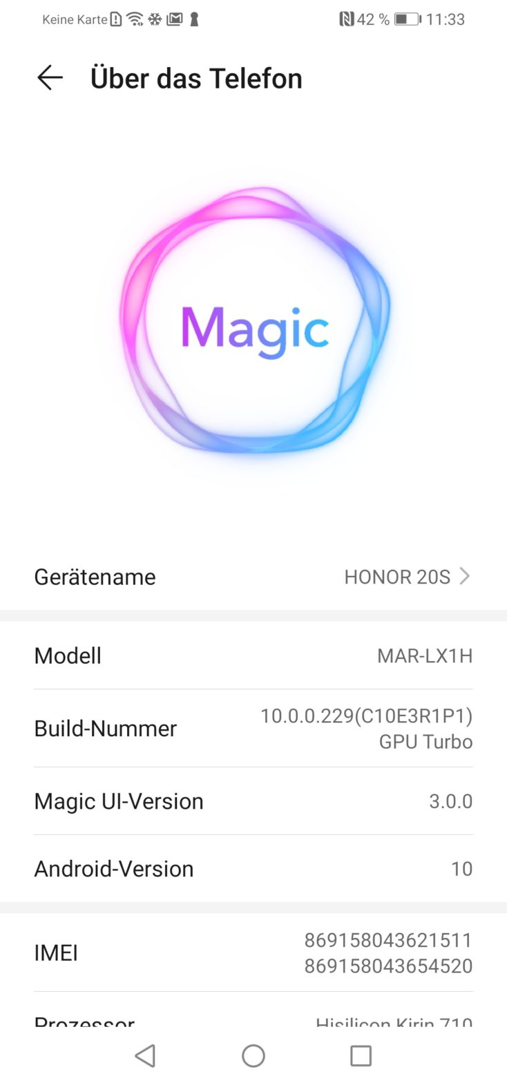 Honor 20S Magic UI