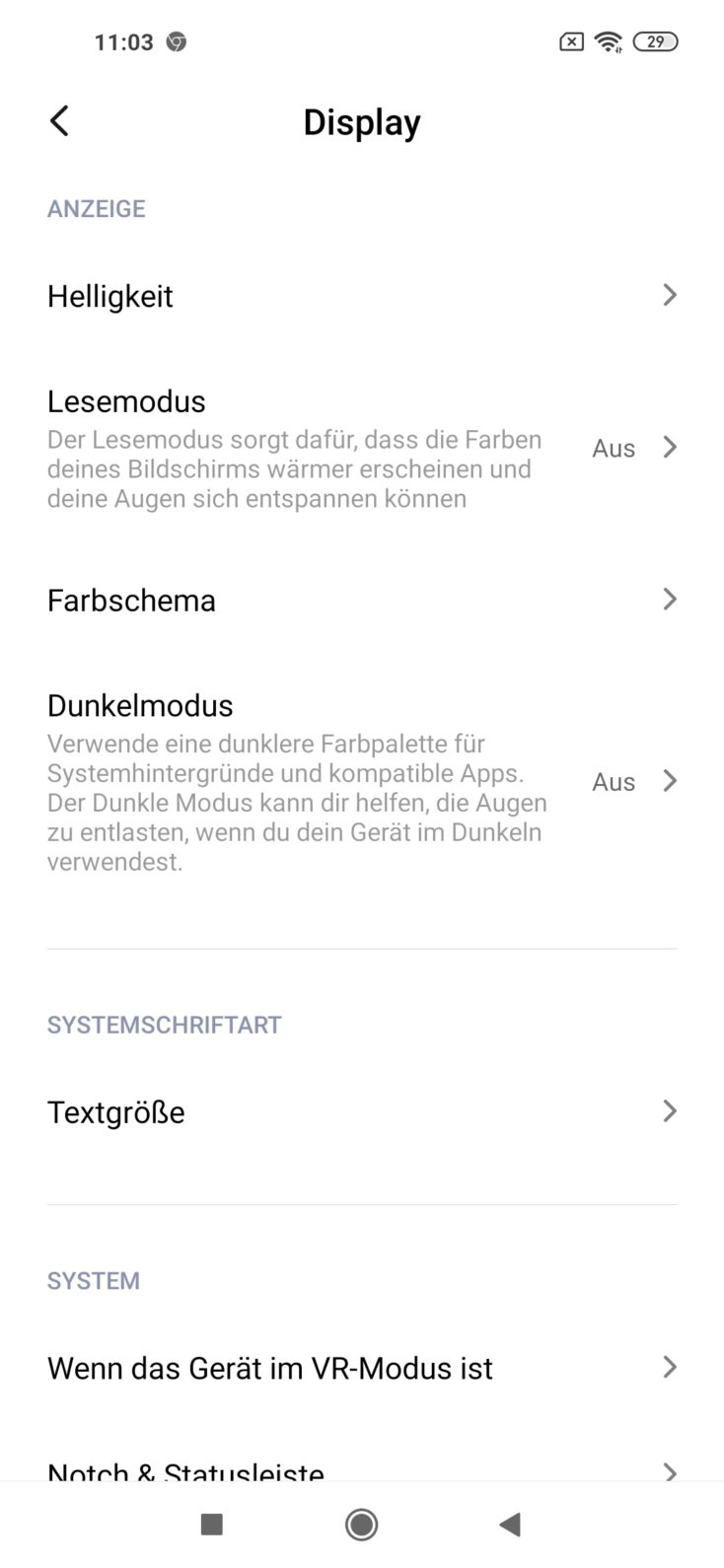 Redmi Note 9 DIsplayeinstellungen