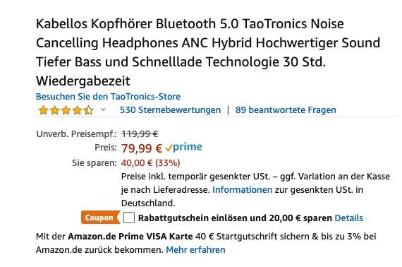 TaoTronics BH46 Rabatt Amazon