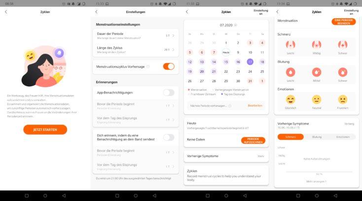 Xiaomi Mi Band 5 Mestruationszyklus