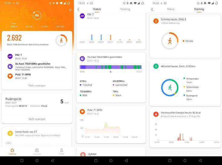 Xiaomi Mi Band 5 Mi Fit App Training Status