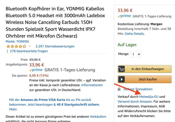 YONMIG In Ear Amazon Haendler