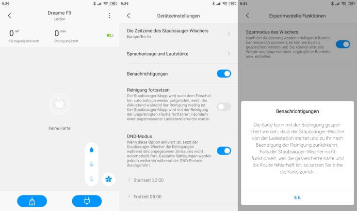 Dreame F9 Saugroboter Xiaomi Home App Interface Kartenerstellung