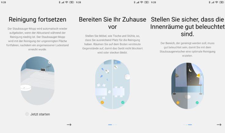 Dreame F9 Saugroboter Xiaomi Home App Vorbereitung Reinigung