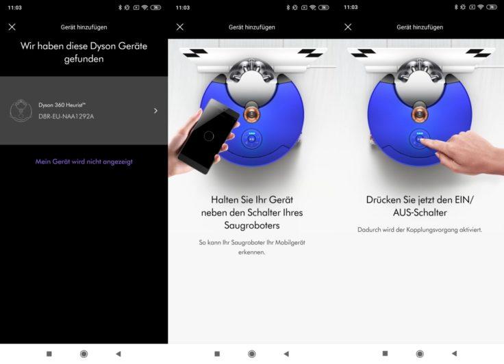 Dyson 360 Heurist Saugroboter App Einbindung WLAN