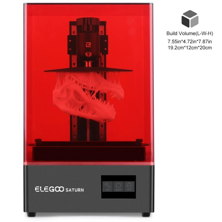 Elegoo Saturn 3D-Drucker mit gedrucktem Saurier-Schädel