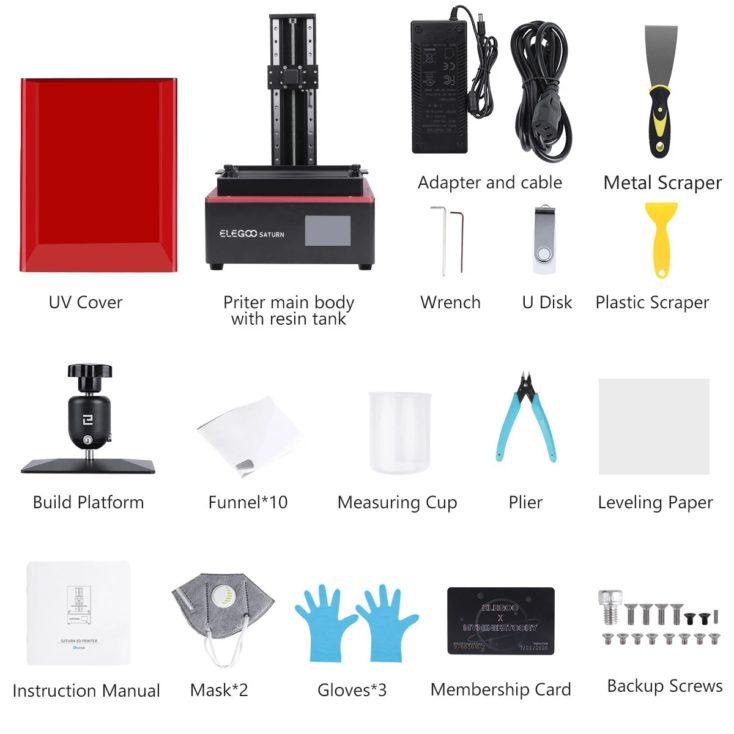 Elegoo Saturn 3D-Drucker und Zubehör als Auflistung (Kabel, Werkzeug, Anleitung und Ersatzteile)