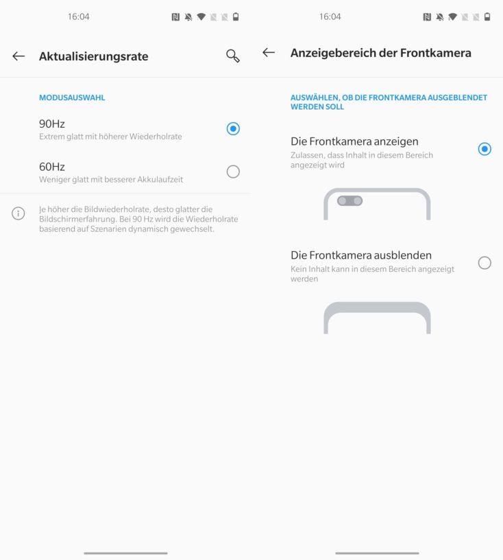 OnePlus Nord Aktualisierungsrate Frontkamera