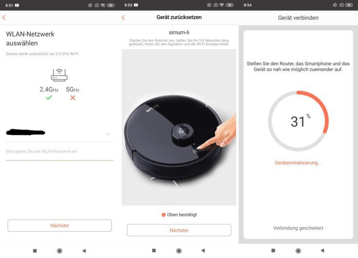 Simum 6 Saugroboter App Firmware-Updates