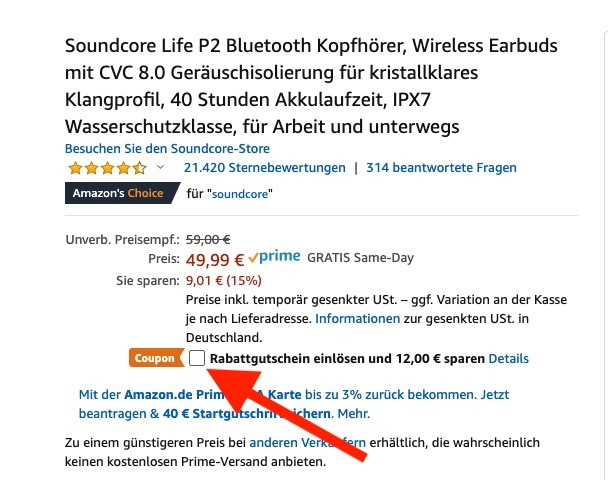 Soundcore Life P2 Gutschein Amazon 1