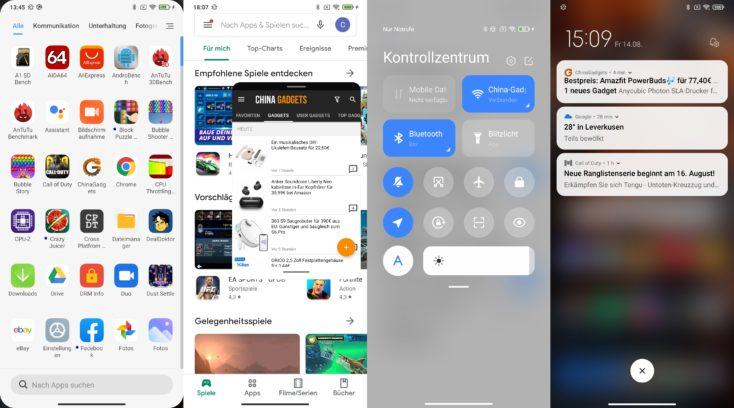 Xiaomi Mi 10 Lite 5G MIUI 12 App Drawer Schwebende Fenster Kontrollzentrum