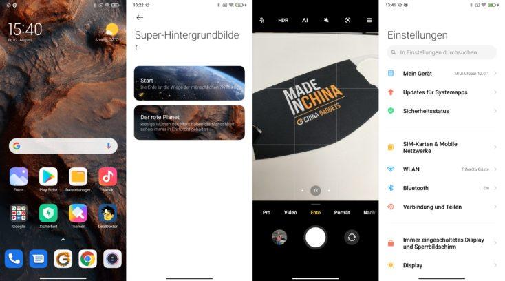 Xiaomi Mi 10 Lite 5G MIUI 12 Super Hintergrundbild Kamera Einstellungen