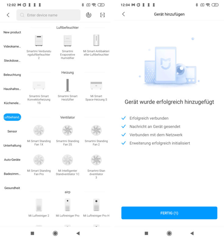 Xiaomi Mi Fan 1C App Einrichtung