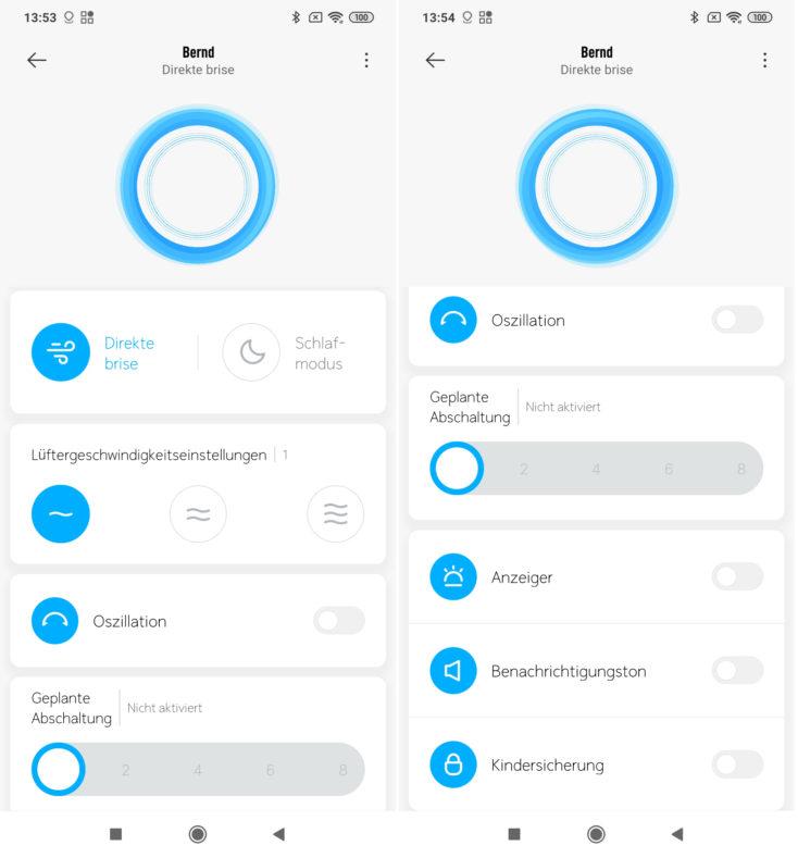 Xiaomi Mi Fan 1C App Funktionen